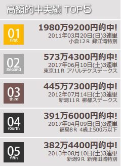 高額的中実績TOP5