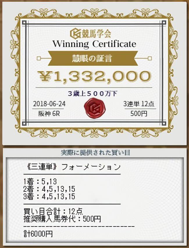 競馬学会の実績 2018.6.24阪神6Rの3歳上500下